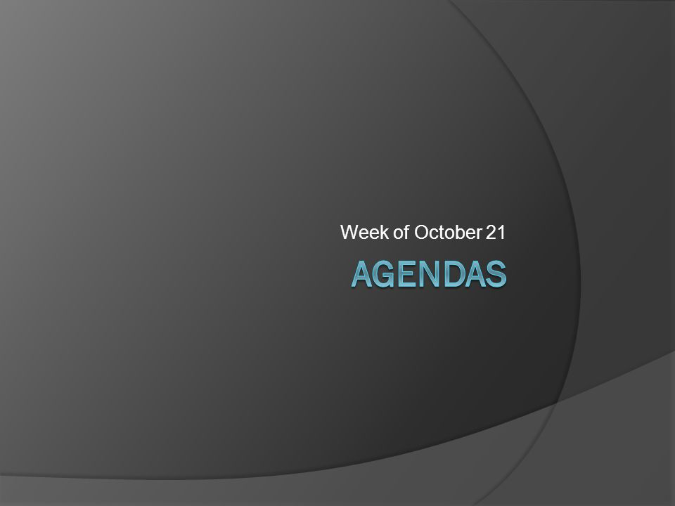 Week of October 21