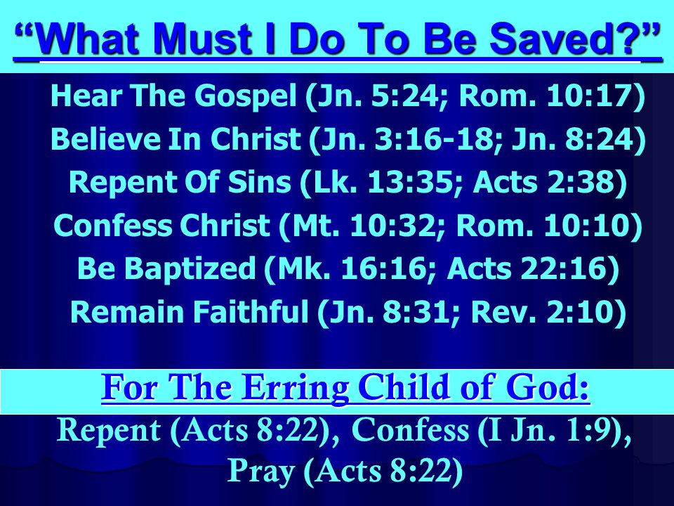 What Must I Do To Be Saved Hear The Gospel (Jn.