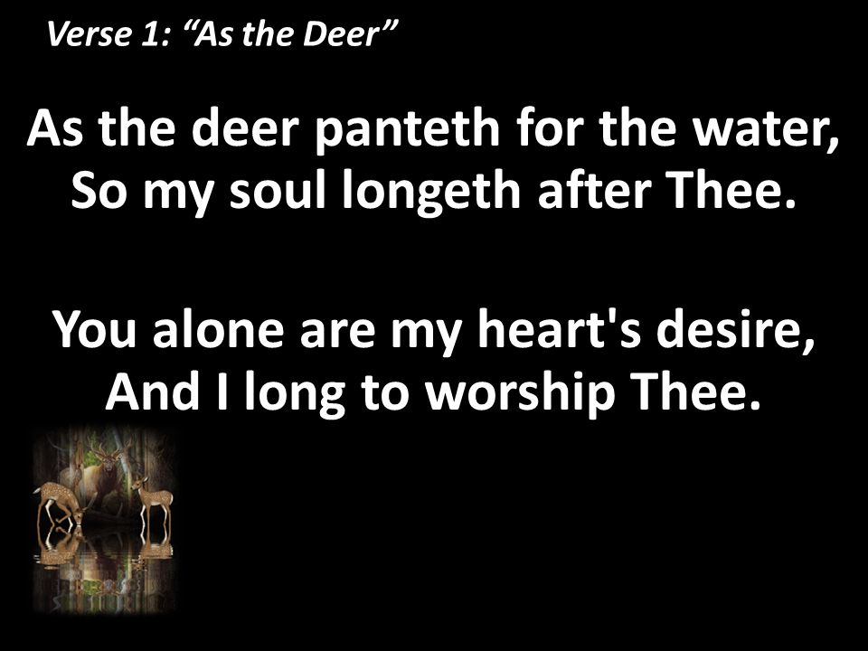 """Verse 1: """"As the Deer"""" As the deer panteth for the water, So my soul longeth after Thee. You alone are my heart's desire, And I long to worship Thee."""