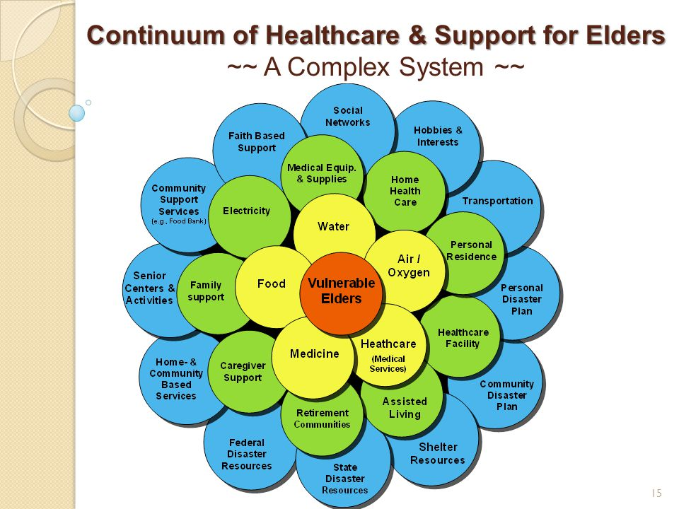 Continuum of Healthcare & Support for Elders ~~ A Complex System ~~ 15