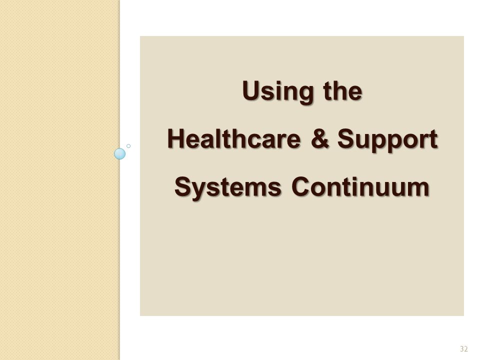 Using the Healthcare & Support Systems Continuum 32