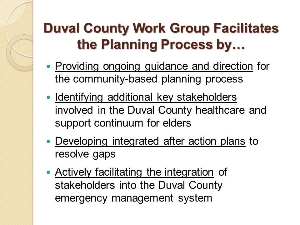 Duval County Work Group Facilitates the Planning Process by… Providing ongoing guidance and direction for the community-based planning process Identifying additional key stakeholders involved in the Duval County healthcare and support continuum for elders Developing integrated after action plans to resolve gaps Actively facilitating the integration of stakeholders into the Duval County emergency management system
