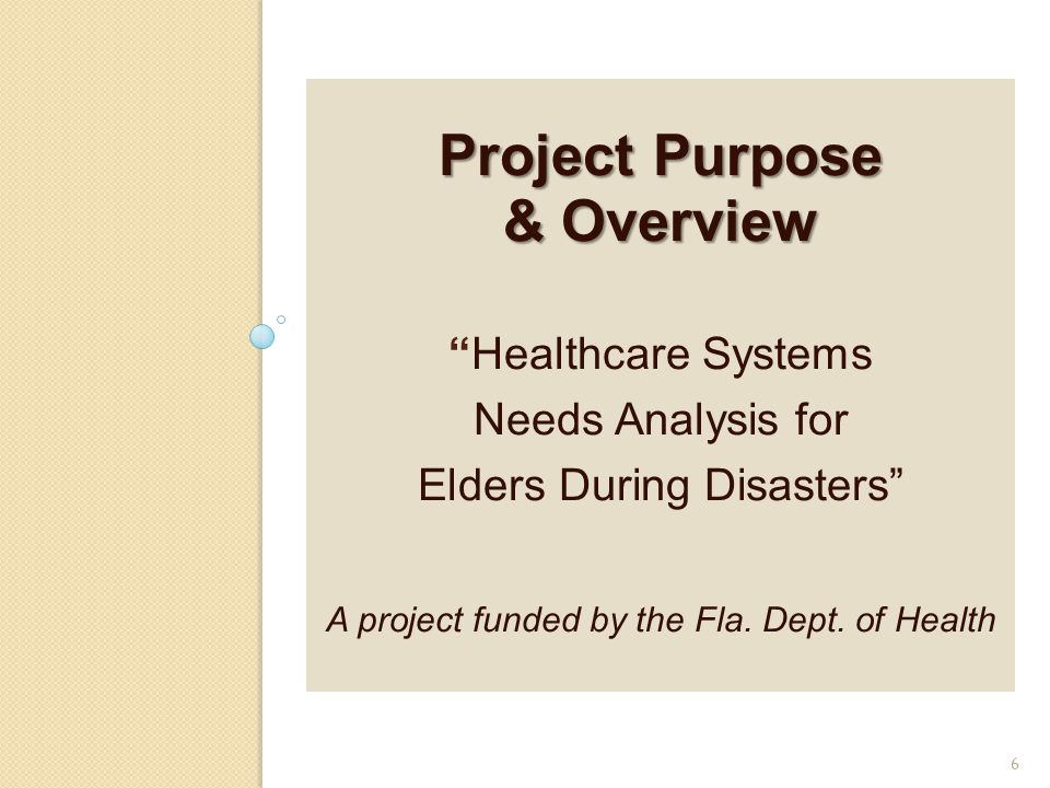 Project Purpose & Overview Project Purpose & Overview Healthcare Systems Needs Analysis for Elders During Disasters A project funded by the Fla.