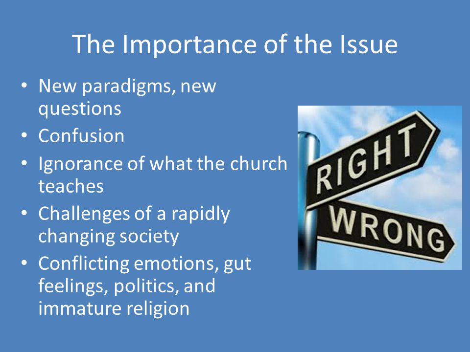 The Importance of the Issue New paradigms, new questions Confusion Ignorance of what the church teaches Challenges of a rapidly changing society Conflicting emotions, gut feelings, politics, and immature religion