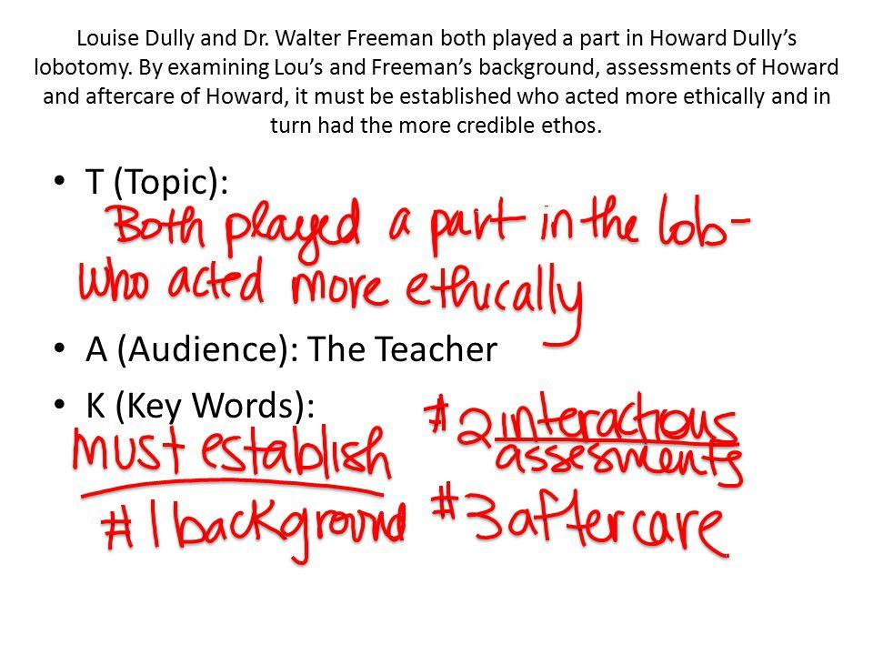 T (Topic): A (Audience): The Teacher K (Key Words):