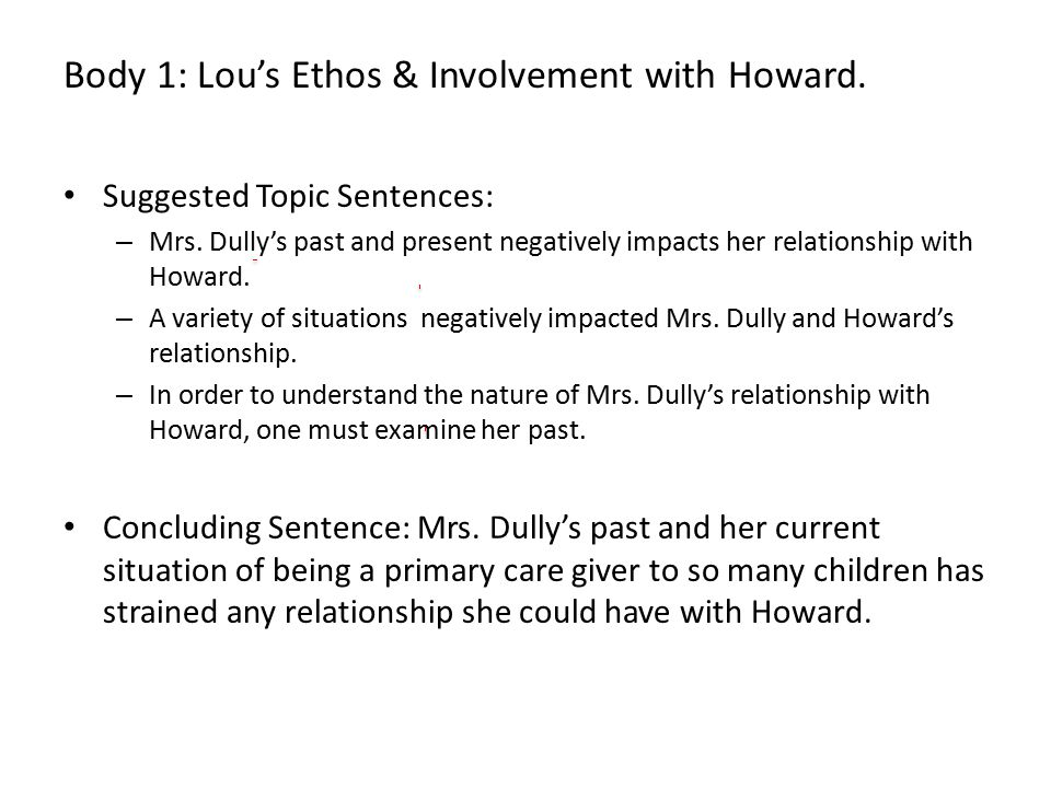 Suggested Topic Sentences: – Mrs. Dully's past and present negatively impacts her relationship with Howard. – A variety of situations negatively impac
