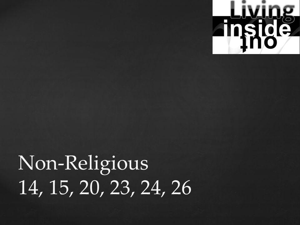 Non-Religious 14, 15, 20, 23, 24, 26