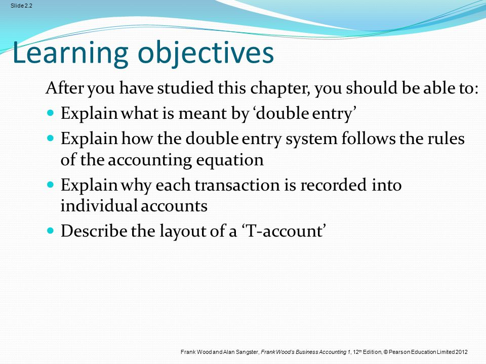 Frank Wood and Alan Sangster, Frank Wood's Business Accounting 1, 12 th Edition, © Pearson Education Limited 2012 Slide 2.2 Learning objectives After