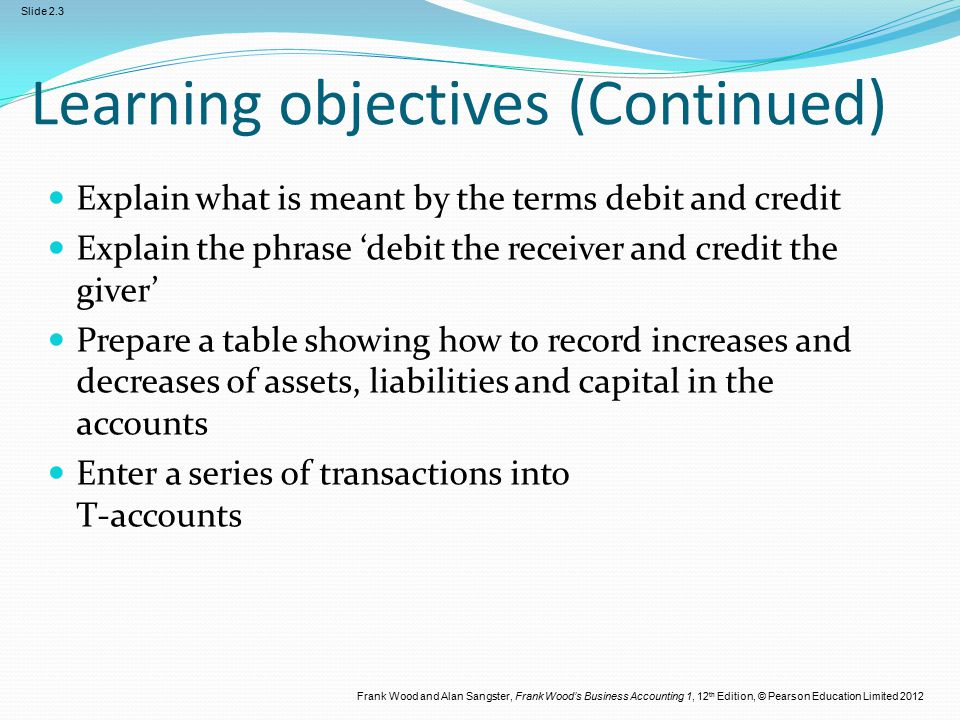Frank Wood and Alan Sangster, Frank Wood's Business Accounting 1, 12 th Edition, © Pearson Education Limited 2012 Slide 2.3 Learning objectives (Conti