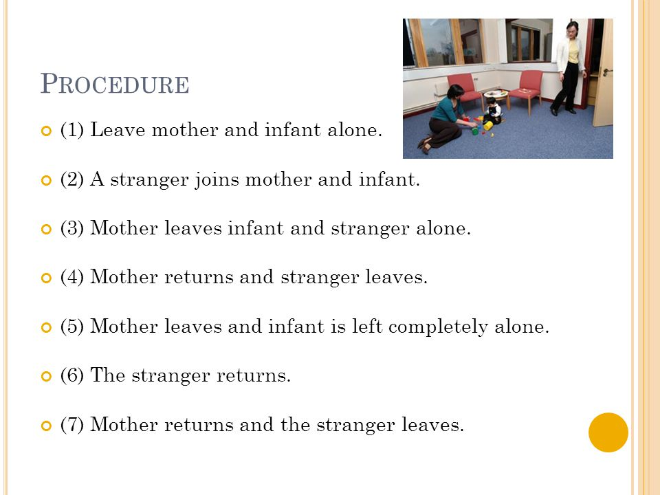 P ROCEDURE (1) Leave mother and infant alone. (2) A stranger joins mother and infant. (3) Mother leaves infant and stranger alone. (4) Mother returns