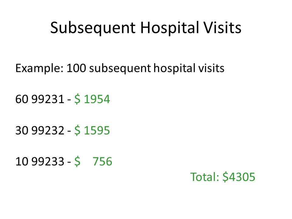 Subsequent Hospital Visits Example: 100 subsequent hospital visits $ $ $ 756 Total: $4305