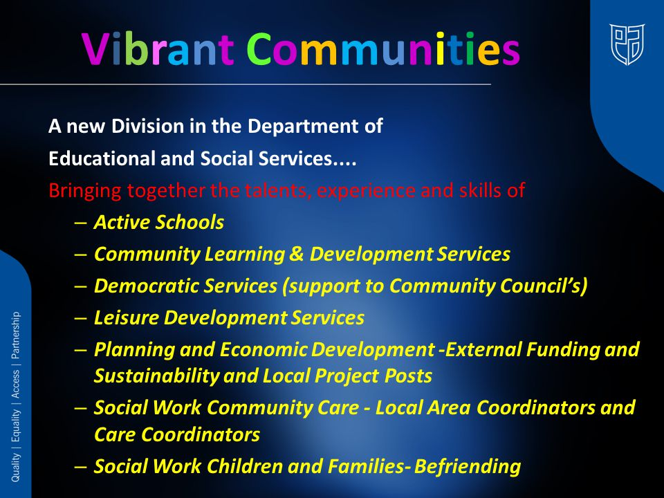 A new Division in the Department of Educational and Social Services....