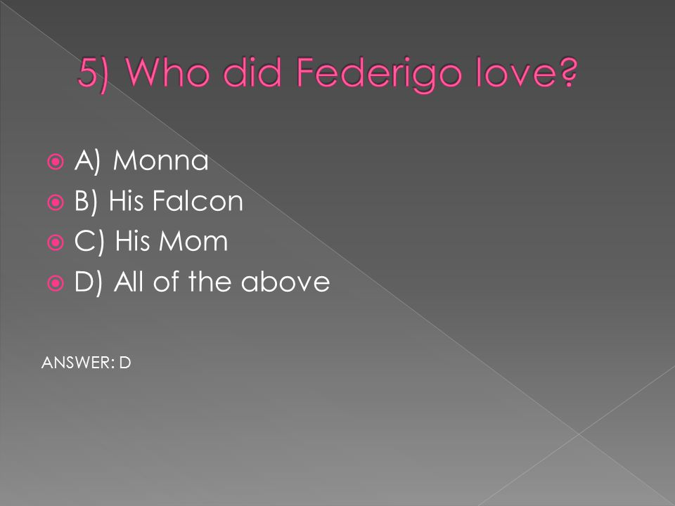  A) Monna  B) His Falcon  C) His Mom  D) All of the above ANSWER: D