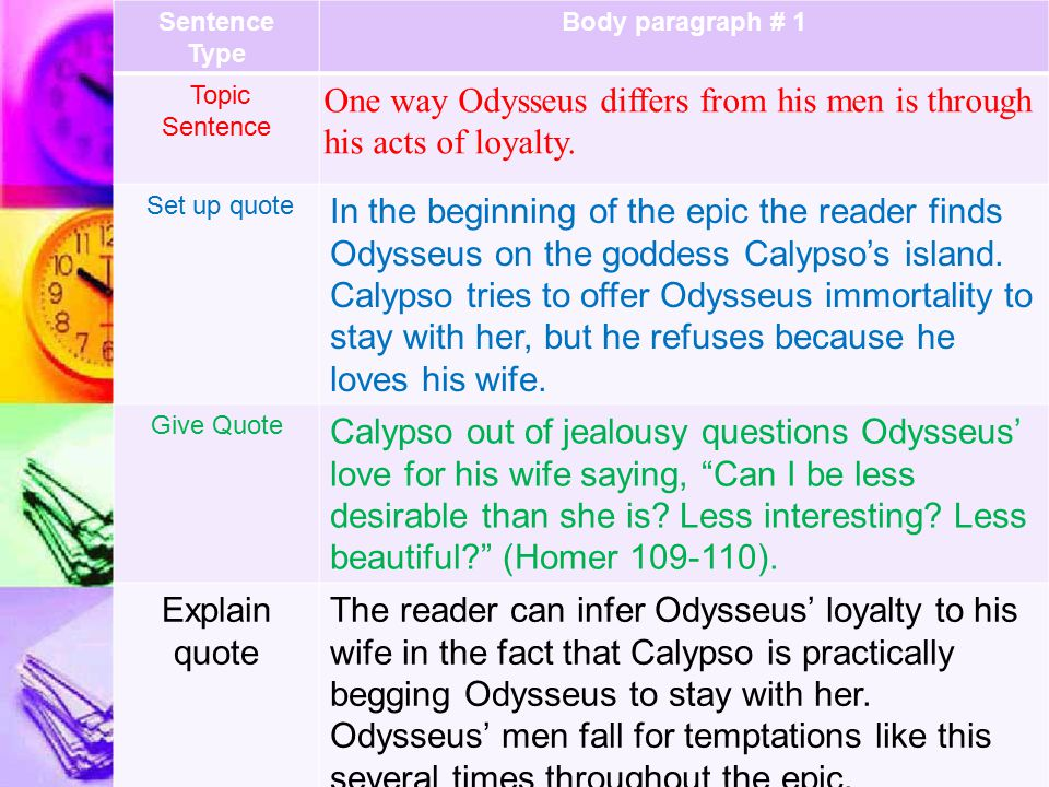 Sentence Type Body paragraph # 1 Topic Sentence One way Odysseus differs from his men is through his acts of loyalty.