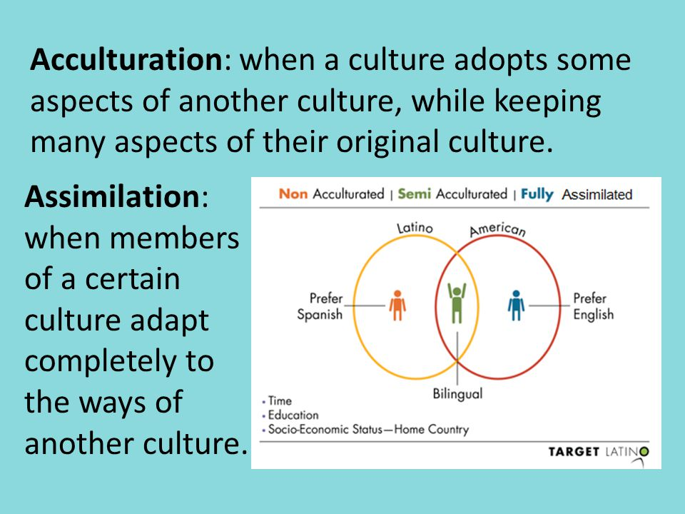 Acculturation: when a culture adopts some aspects of another culture, while keeping many aspects of their original culture.