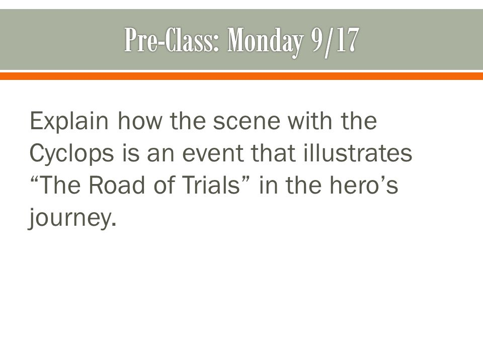 Explain how the scene with the Cyclops is an event that illustrates The Road of Trials in the hero's journey.
