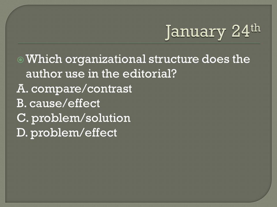  Which organizational structure does the author use in the editorial.