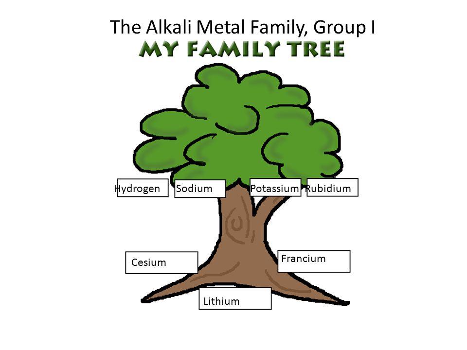 HydrogenSodiumPotassiumRubidium Cesium Francium Lithium The Alkali Metal Family, Group I