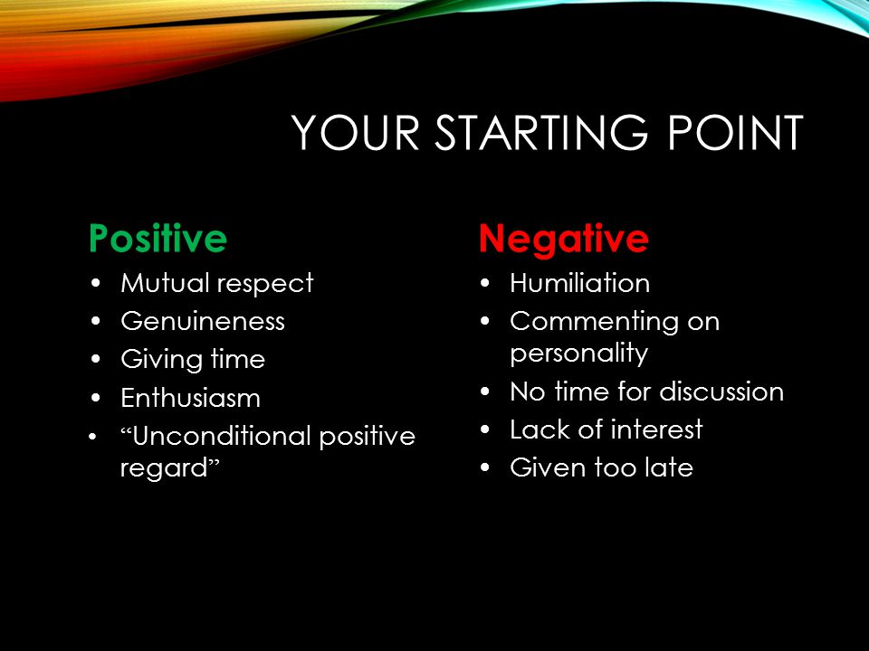 """YOUR STARTING POINT Positive Mutual respect Genuineness Giving time Enthusiasm """" Unconditional positive regard """" Negative Humiliation Commenting on pe"""