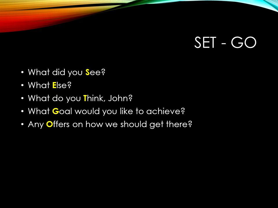 SET - GO What did you S ee? What E lse? What do you T hink, John? What G oal would you like to achieve? Any O ffers on how we should get there?