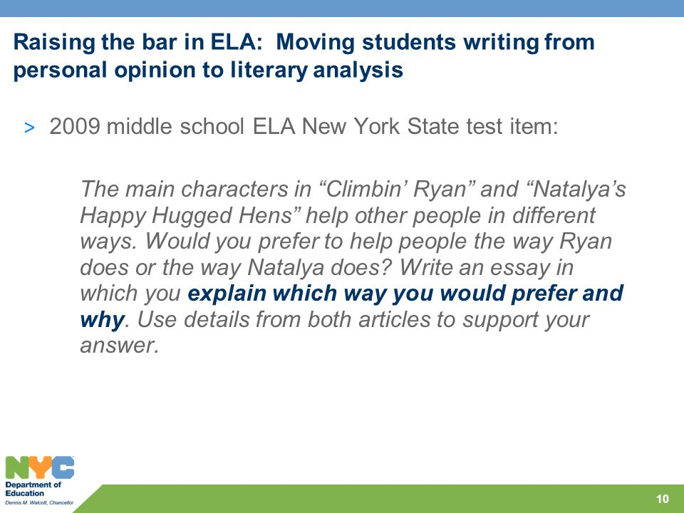 Raising the bar in ELA: Moving students writing from personal opinion to literary analysis > 2009 middle school ELA New York State test item: The main characters in Climbin' Ryan and Natalya's Happy Hugged Hens help other people in different ways.