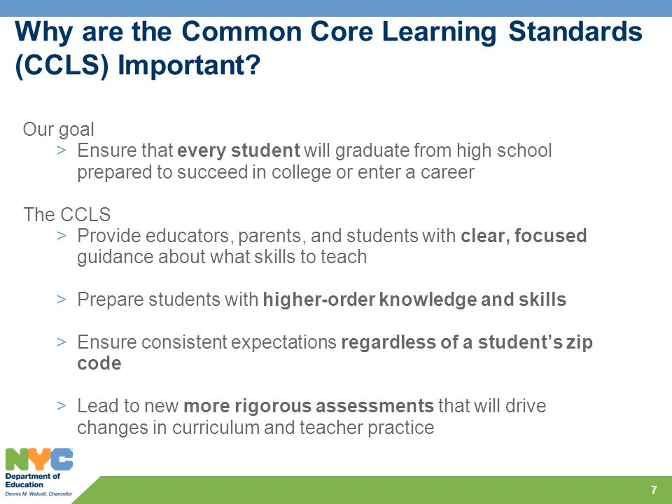 Why are the Common Core Learning Standards (CCLS) Important.