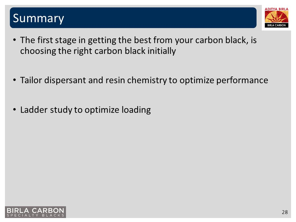 Summary 28 The first stage in getting the best from your carbon black, is choosing the right carbon black initially Tailor dispersant and resin chemis