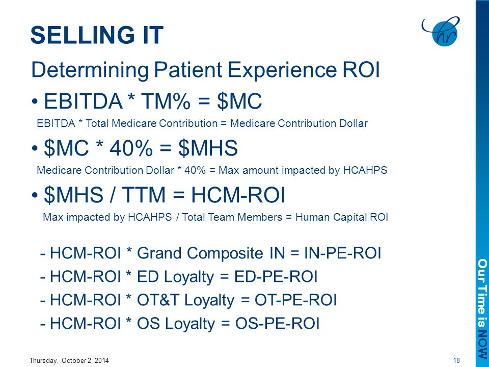 Our Time is NOW SELLING IT Determining Patient Experience ROI EBITDA * TM% = $MC EBITDA * Total Medicare Contribution = Medicare Contribution Dollar $MC * 40% = $MHS Medicare Contribution Dollar * 40% = Max amount impacted by HCAHPS $MHS / TTM = HCM-ROI Max impacted by HCAHPS / Total Team Members = Human Capital ROI - HCM-ROI * Grand Composite IN = IN-PE-ROI - HCM-ROI * ED Loyalty = ED-PE-ROI - HCM-ROI * OT&T Loyalty = OT-PE-ROI - HCM-ROI * OS Loyalty = OS-PE-ROI Thursday, October 2, 201418