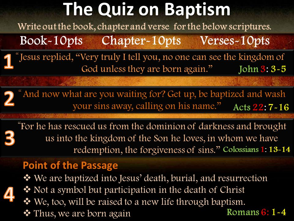 The Quiz on Baptism Write out the book, chapter and verse for the below scriptures.