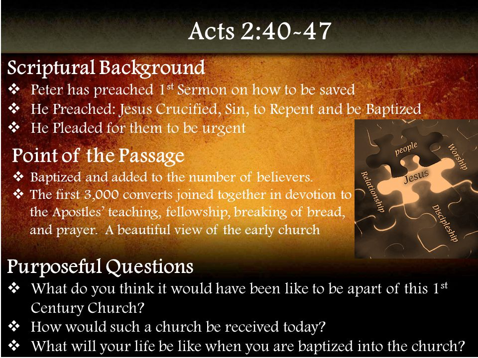 1 Corinthians 12:12-27 Scriptural Background  Paul teaches how the Holy Spirit gives members of the body different kinds of gifts and service  The same spirits gives the various gifts Point of the Passage  The Spirit baptizes us into the body of Jesus, his church.