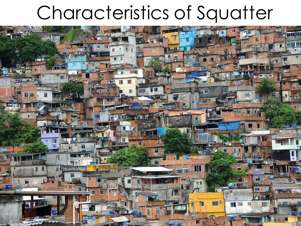 Characteristics of Squatter Cities Housing materials are collected from available resources, e.g. corrugated tin Little sanitation No running water No