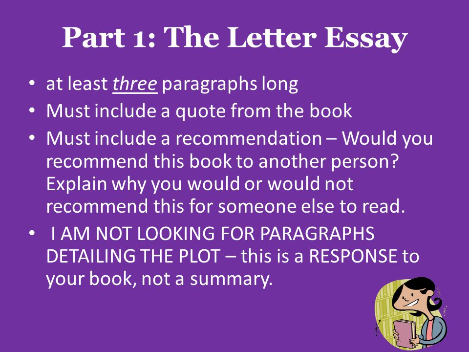 Part 1: The Letter Essay at least three paragraphs long Must include a quote from the book Must include a recommendation – Would you recommend this book to another person.