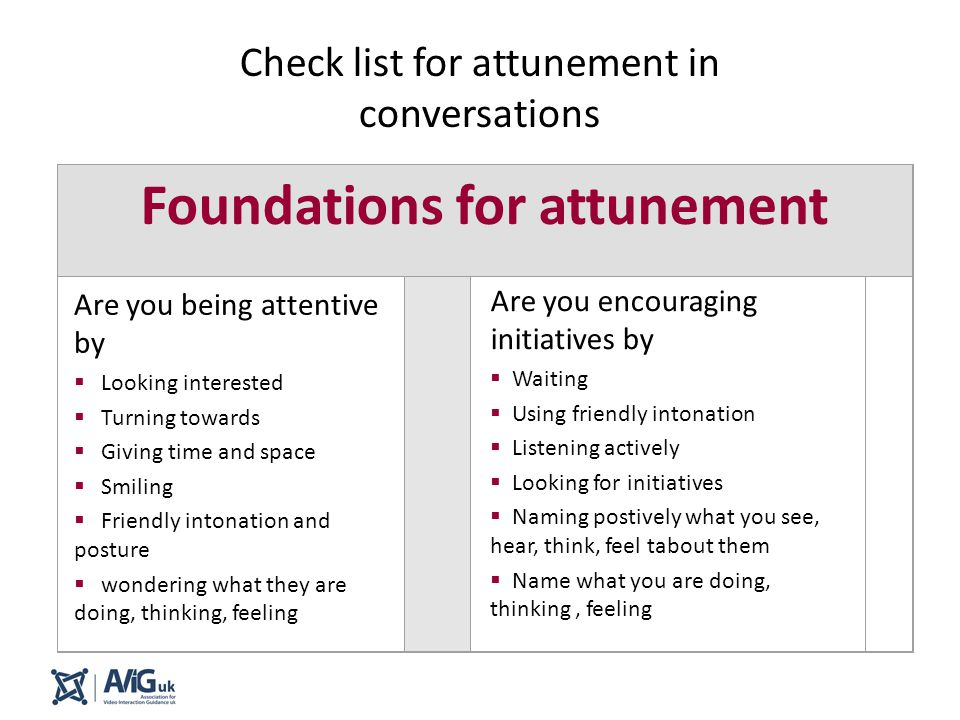 Check list for attunement in conversations Foundations for attunement Are you being attentive by  Looking interested  Turning towards  Giving time