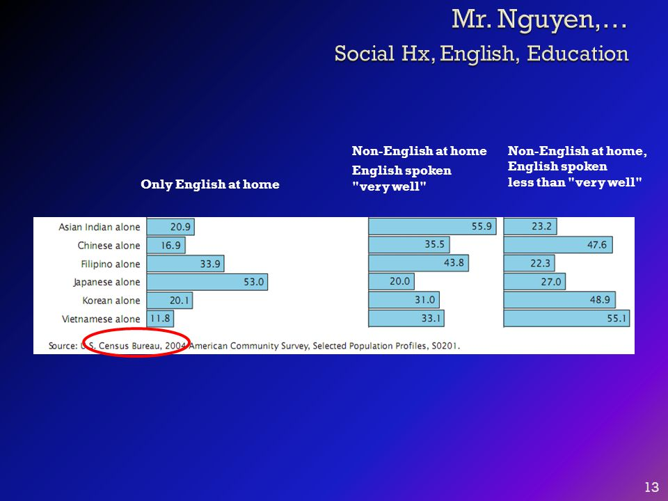 13 Non-English at home, English spoken less than very well Non-English at home English spoken very well Only English at home