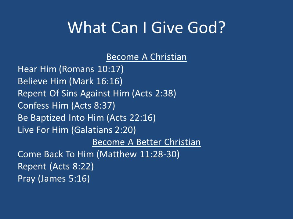 What Can I Give God.
