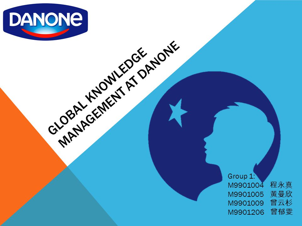 GLOBAL KNOWLEDGE MANAGEMENT AT DANONE Group 1: M9901004 程永真 M9901005 黃曼欣 M9901009 曾云杉 M9901206 曾郁雯