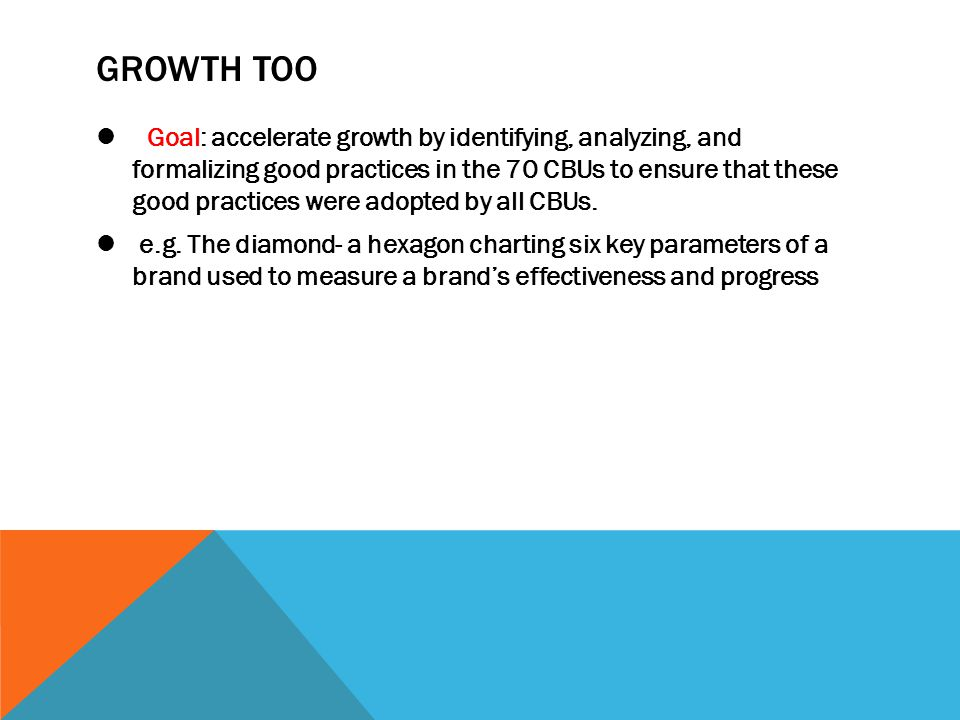 GROWTH TOO Goal: accelerate growth by identifying, analyzing, and formalizing good practices in the 70 CBUs to ensure that these good practices were a