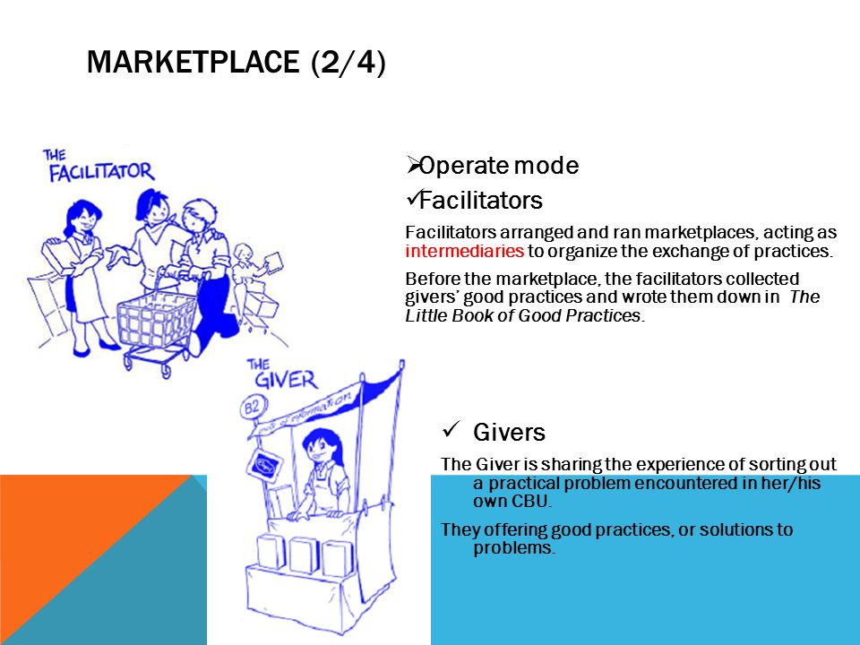 MARKETPLACE (2/4)  Operate mode Facilitators Facilitators arranged and ran marketplaces, acting as intermediaries to organize the exchange of practic