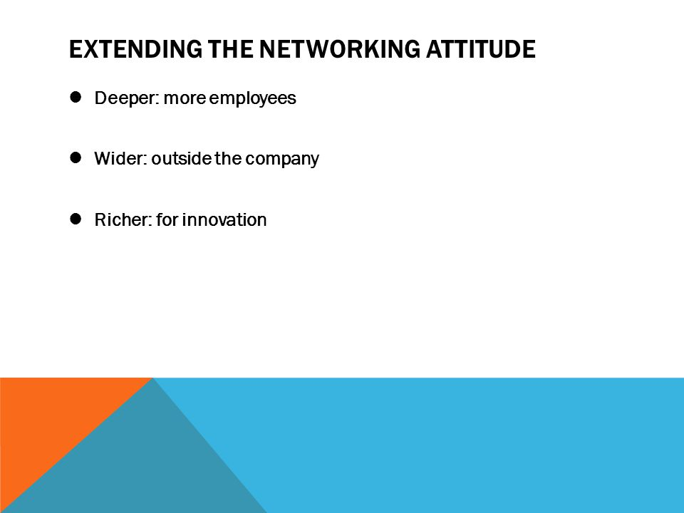 EXTENDING THE NETWORKING ATTITUDE Deeper: more employees Wider: outside the company Richer: for innovation