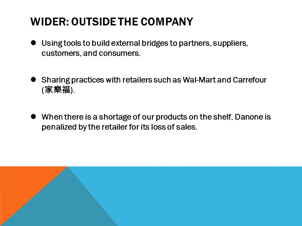 WIDER: OUTSIDE THE COMPANY Using tools to build external bridges to partners, suppliers, customers, and consumers. Sharing practices with retailers su