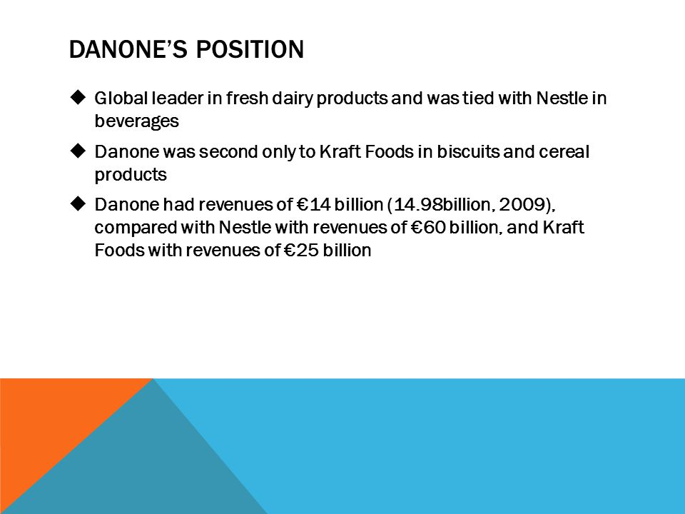 DANONE'S POSITION  Global leader in fresh dairy products and was tied with Nestle in beverages  Danone was second only to Kraft Foods in biscuits an