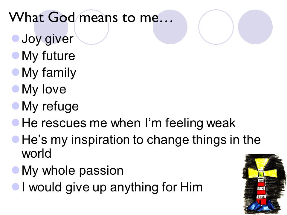 What God means to me… Joy giver My future My family My love My refuge He rescues me when I'm feeling weak He's my inspiration to change things in the world My whole passion I would give up anything for Him