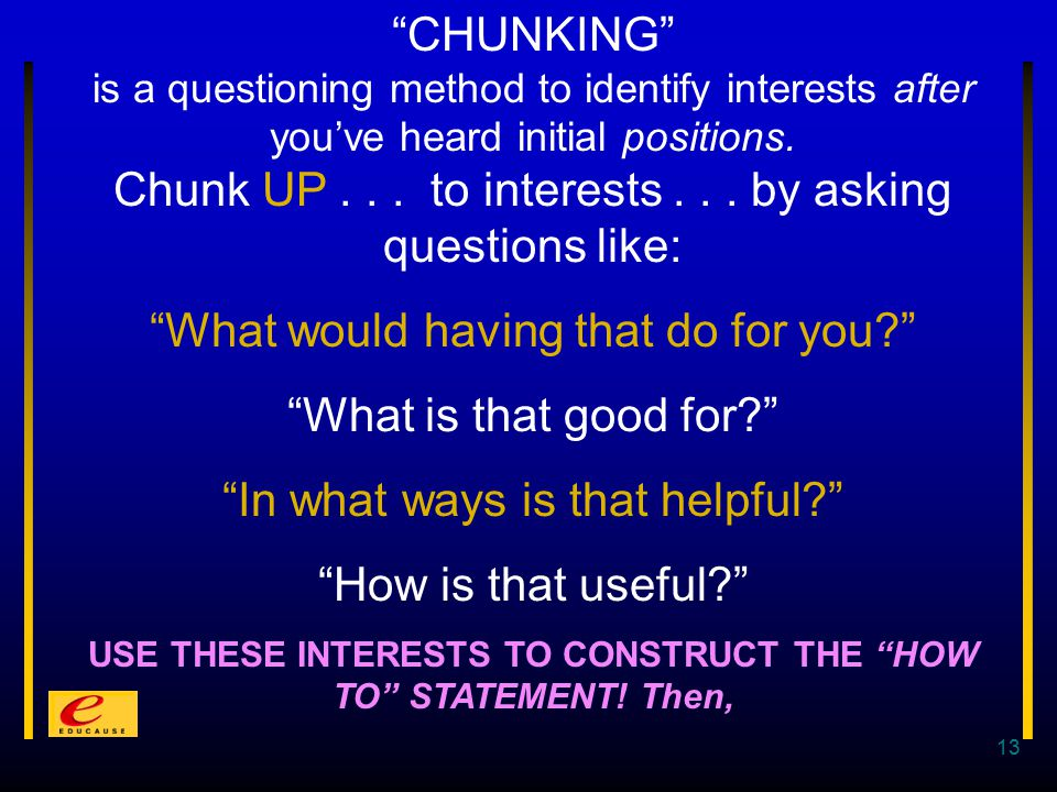 13 CHUNKING is a questioning method to identify interests after you've heard initial positions.