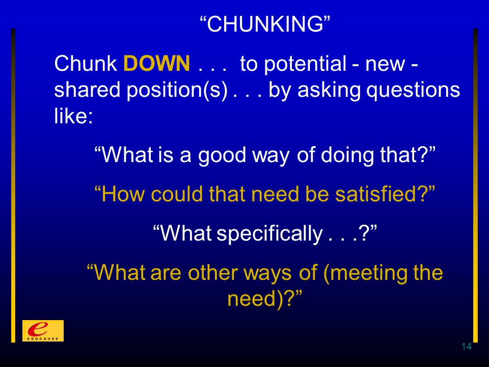 14 CHUNKING Chunk DOWN... to potential - new - shared position(s)...