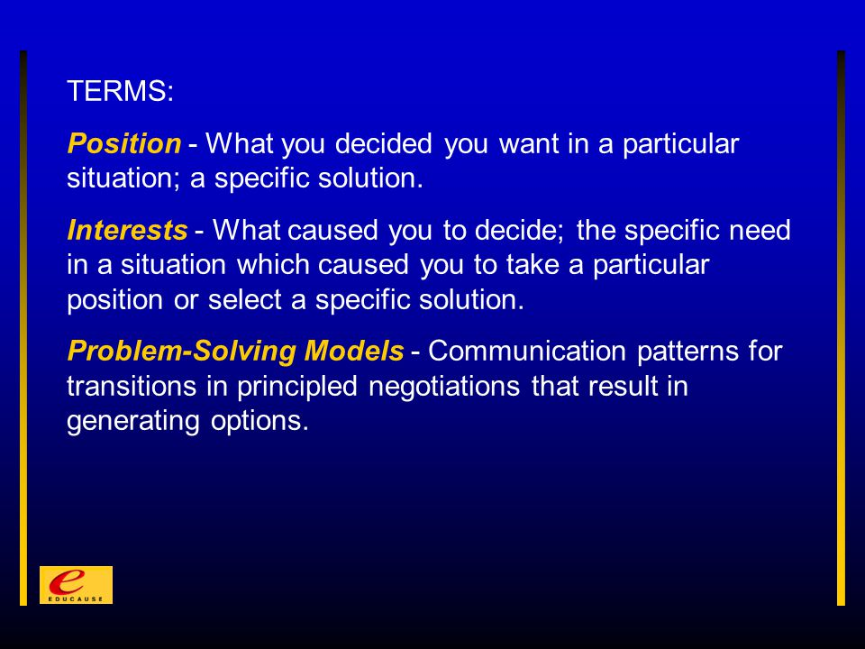 TERMS: Position - What you decided you want in a particular situation; a specific solution.