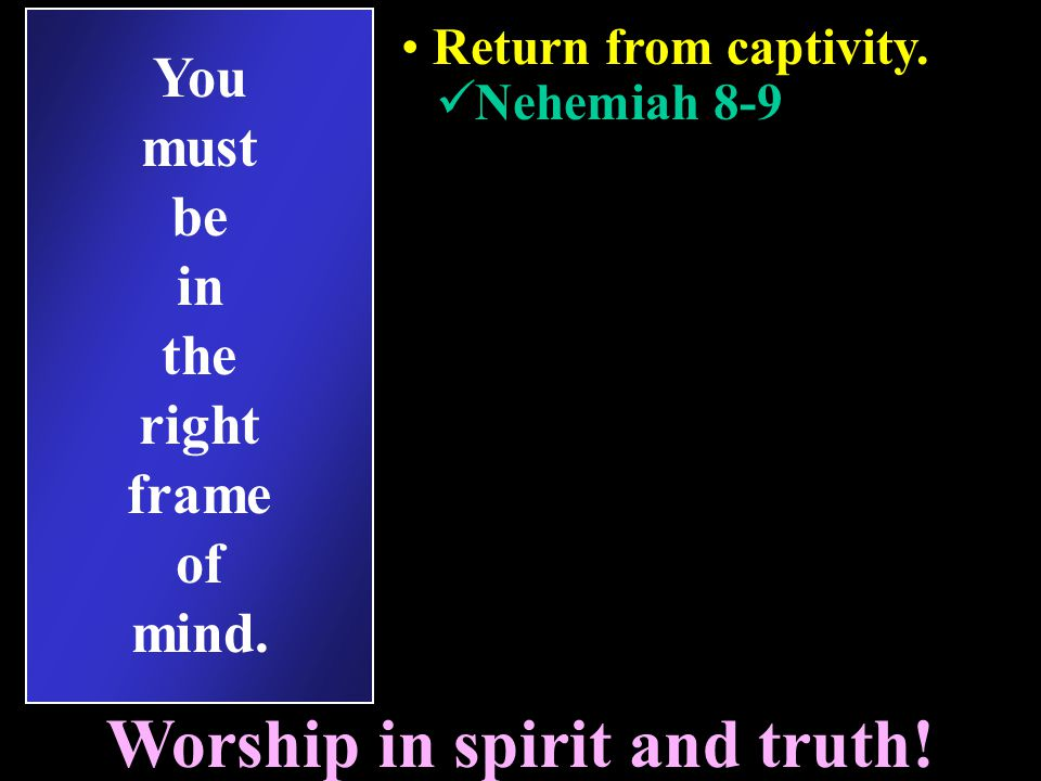 You must be in the right frame of mind. Return from captivity.