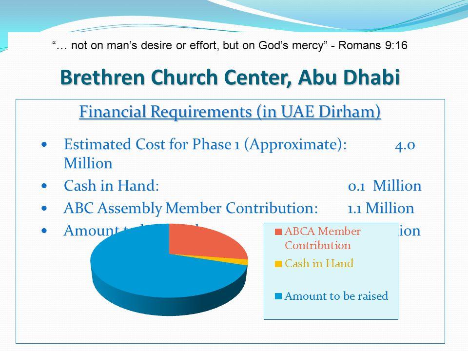 Brethren Church Center, Abu Dhabi … not on man's desire or effort, but on God's mercy - Romans 9:16 What can I do.