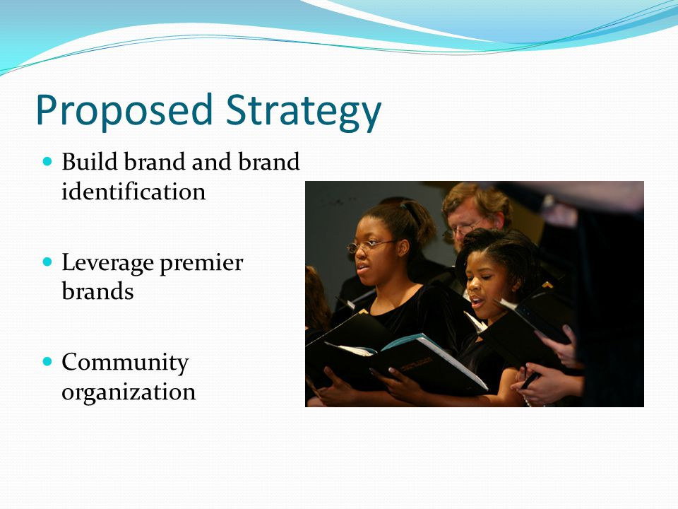 Proposed Strategy Build brand and brand identification Leverage premier brands Community organization