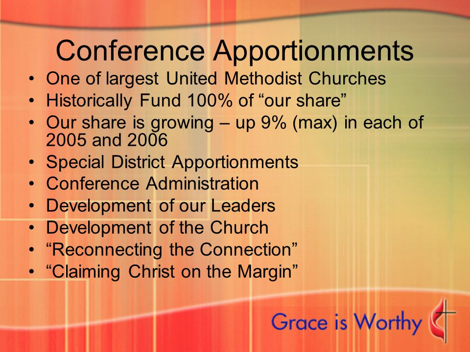 "Conference Apportionments One of largest United Methodist Churches Historically Fund 100% of ""our share"" Our share is growing – up 9% (max) in each of"