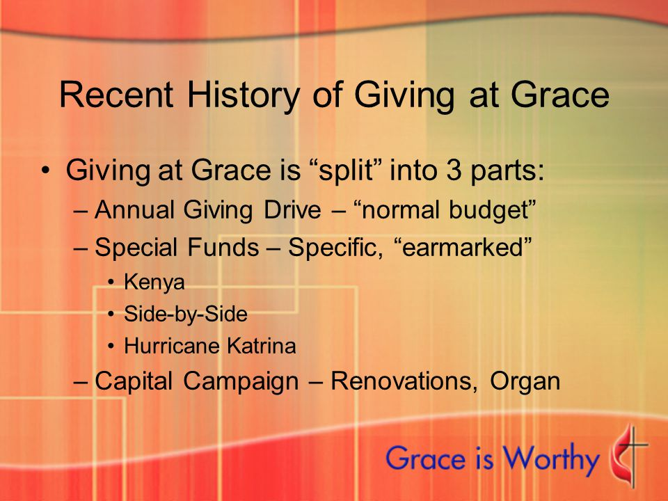 "Recent History of Giving at Grace Giving at Grace is ""split"" into 3 parts: –Annual Giving Drive – ""normal budget"" –Special Funds – Specific, ""earmarke"